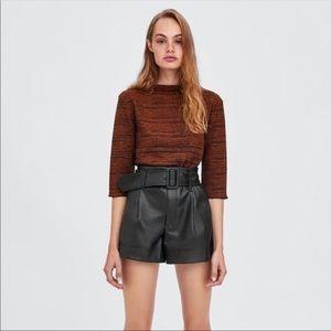 Zara Black Faux Leather Shorts